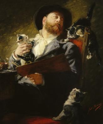 julius-adam-self-portrait-cats-1911